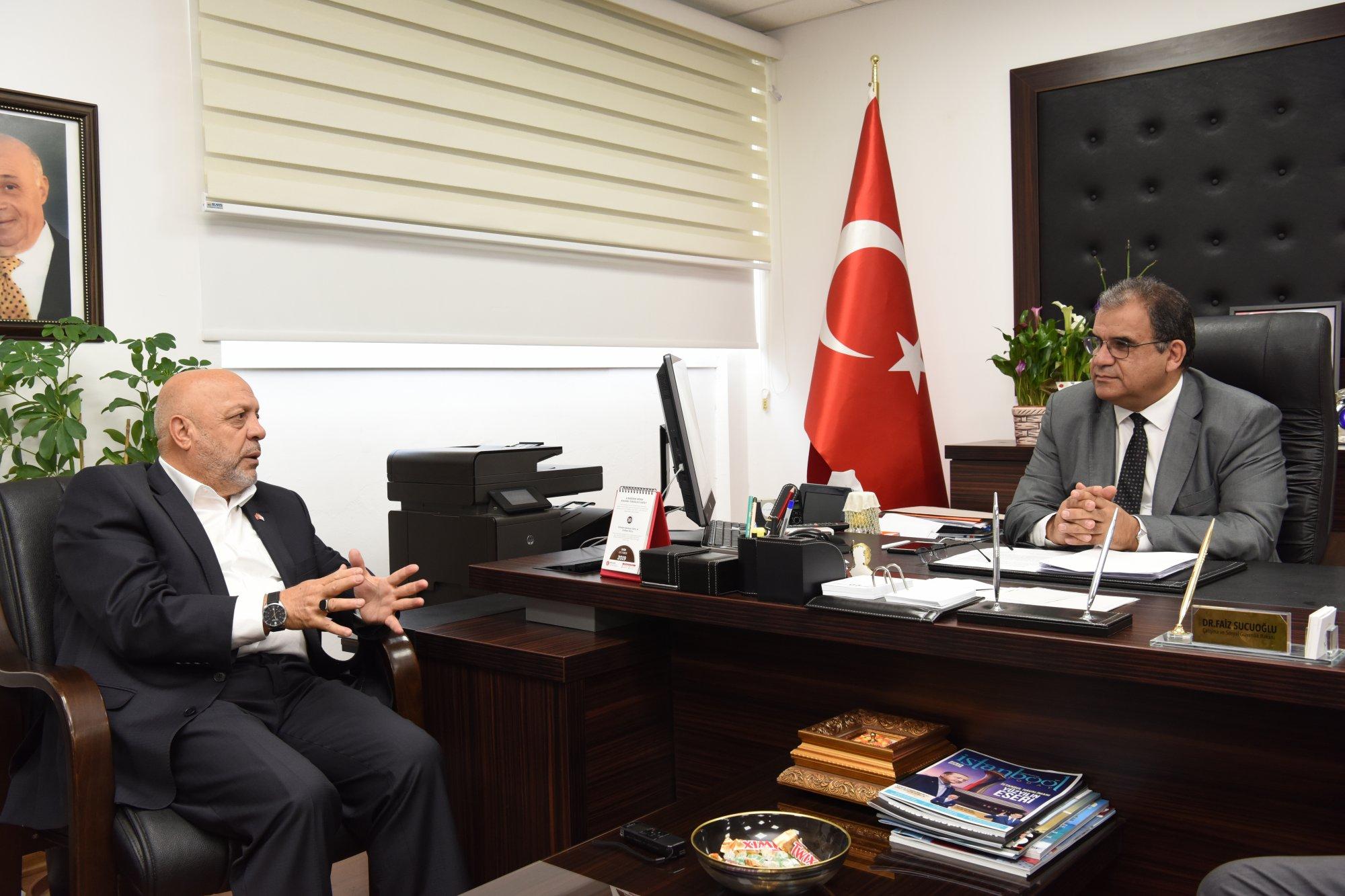 ARSLAN, KKTC ÇSGB BAKANI SUCUOĞLU'NU ZİYARET ETTİ