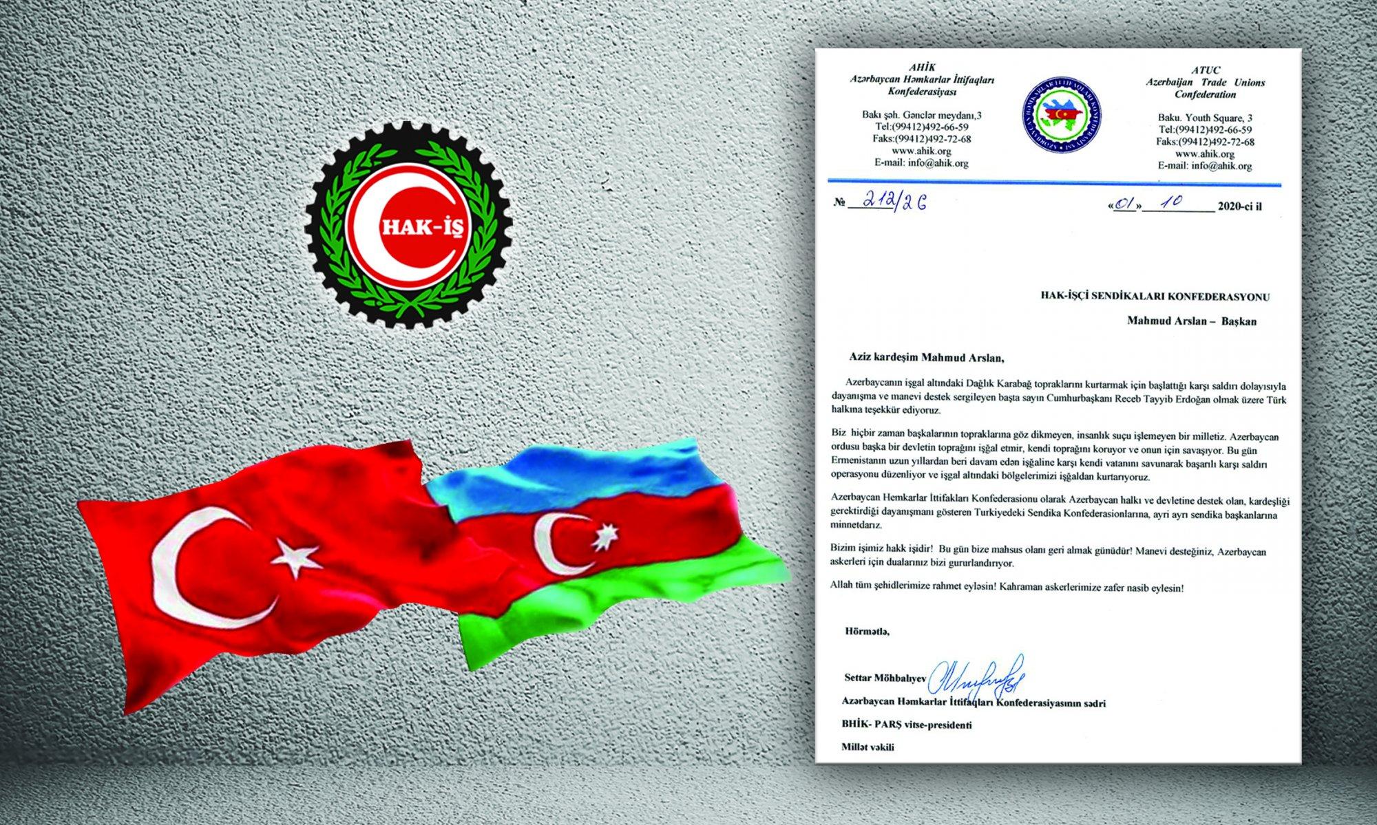 AZERBAYCAN'DAN ARSLAN'A TEŞEKKÜR MEKTUBU
